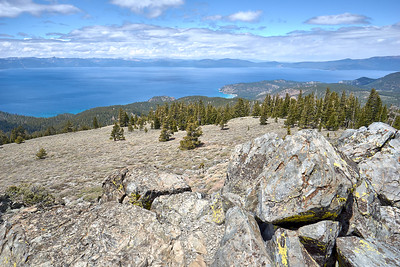 View of Glenbrook and beyond, from South Camp Peak along the Tahoe Rim Trail.