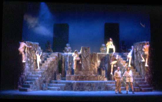 Four Baboons Adoring the Sun by John Guare. Directed by Bob Shea. March 12-15, 1997<br /> Hanaway Theatre. Scenic Design: Matt Kizer. Lighting Design:: Neil Anderson. Costume Design: Jane Stein.