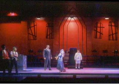 Tommy written by Pete Townsend. Directed by Paul Mroczka. Performed Fall 1997 in the Hanaway Theatre. Produced by Plymouth State Theatre and The Music Theatre Company. Scenic Design: Matt Kizer. Lighting Design: Liza Williams. Costume Design: Jane Stein and Erin Downey.