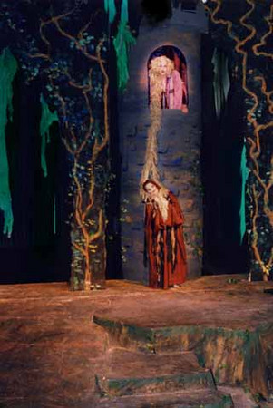 Into the Woods by Stephen Sondheim<br /> Directed by Morgan Murphy. Spring 1998. Studio Theatre. Produced by The Music Theatre Company. Scenic Design: Matt Kizer Costume Design: Virginia Fisher. Lighting Design: Jennifer Williams.