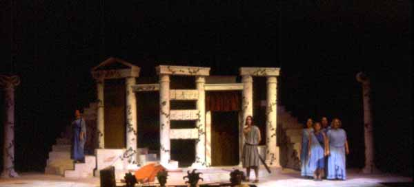 The Clouds by Aristophanes. Directed by Kevin Gardner. Performed April 15-18, 1998 in the Hanaway Theatre. Scenic Design: Matt Kizer. Lighting Design: Jennifer Williams. Costume Design: Erin Downey.