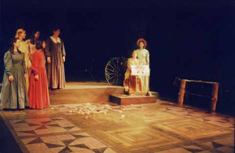 Quilters by Molly Newman and Barbara Damashek<br /> Directed by Elizabeth Cox<br /> February 16-19, 2000<br /> Studio Theatre<br /> Produced by The Music Theatre Company<br /> Scenic Design: Matt Kizer<br /> Lighting Design: Kate Scarpino<br /> Costume Design: Megan Kimball