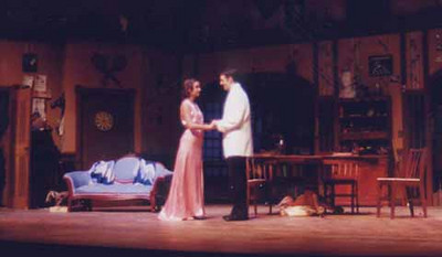 You Can't Take It With You<br /> by Kaufmann and Hart<br /> October 24-28, 2000 in Hanaway Theatre<br /> Produced by Plymouth State Theatre<br /> Directed by Kevin Gardner<br /> Scenic Design by Matt Kizer<br /> Lighting Design by Kate Scarpino and Jesse Riley<br /> Costume Design by Angela Saddler