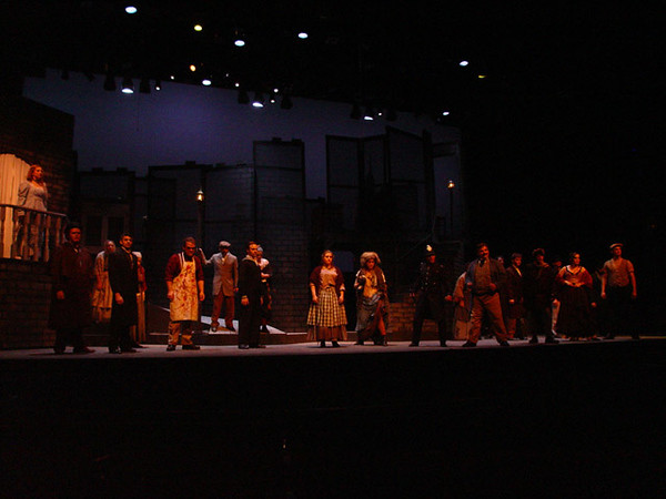 Sweeney Todd<br /> by Stephen Sondheim<br /> October, 2003, Hanaway Theatre<br /> Directed by Kate Arecchi<br /> Scenic Design by Matt Kizer<br /> Costume Design by Jennie Gratton<br /> Lighting Design by Tom Fetera