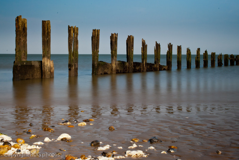 Old timber wave break, Minnis Bay, Kent.