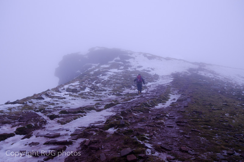 Approaching Corn Du, the second highest peak immediately to the southwest of Pen-y-Fan (highest peak). Conditions were getting treacherous with snow, ice, poor visibility and gale force winds. We made Corn Du, but unfortunately had to turn back so never reached Pen-y-fan.