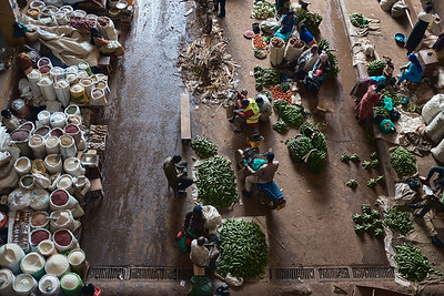 The interesting array of patterns, colors, and people at the Jinja Central Market.