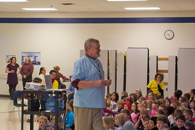 Captain BackPack visited Maxey Elementary School recently to inspire staff and students to participate in the BackPack Extra Mile Walk.