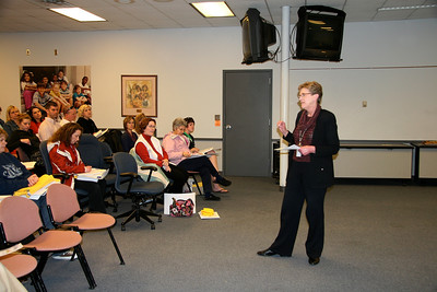 Gourley:  Lincoln Public Schools Superintendent Susan Gourley starts the official launch of the second annual BackPack Extra Mile Walk with remarks at the meeting for team captains.