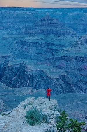 Grand Canyon National Park, Arizona, USA, HDR, red coat,
