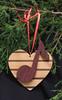 Musical note heart ornament - alder, walnut and purpleheart