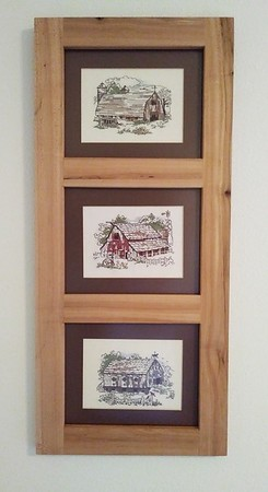 Reclaimed wood frame for needlework prints my sister made for me.
