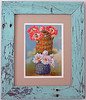 Vintage print framed with reclaimed wood from an old bench.