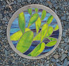Stepping stone - opuntia - stained glass and concrete
