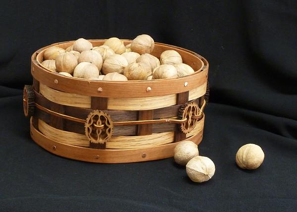 Basket - Oak, walnut and cherry - with sliced walnut shells and latigo lace