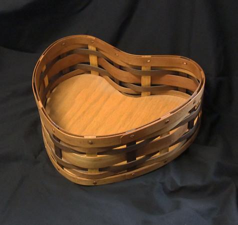 heart basket - cherry, walnut and oak