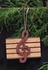 Music treble clef ornament - oak, walnut and purpleheart