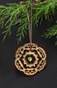 Black walnut shell ornament with crystal heart