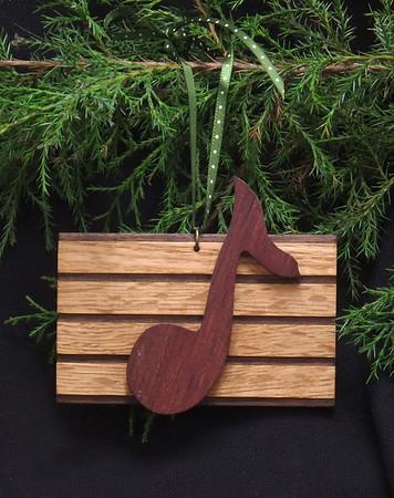 Musical note ornament - oak, walnut and purpleheart.