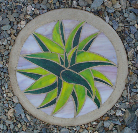 Stepping stone - Aloe - stained glass and concrete