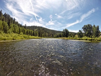 A calm part of the river between rapids near Lake Tahoe!