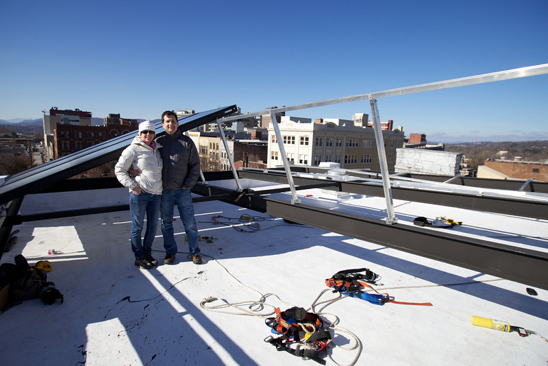 Martha & Peter Pollay during Solar Panel Installation.