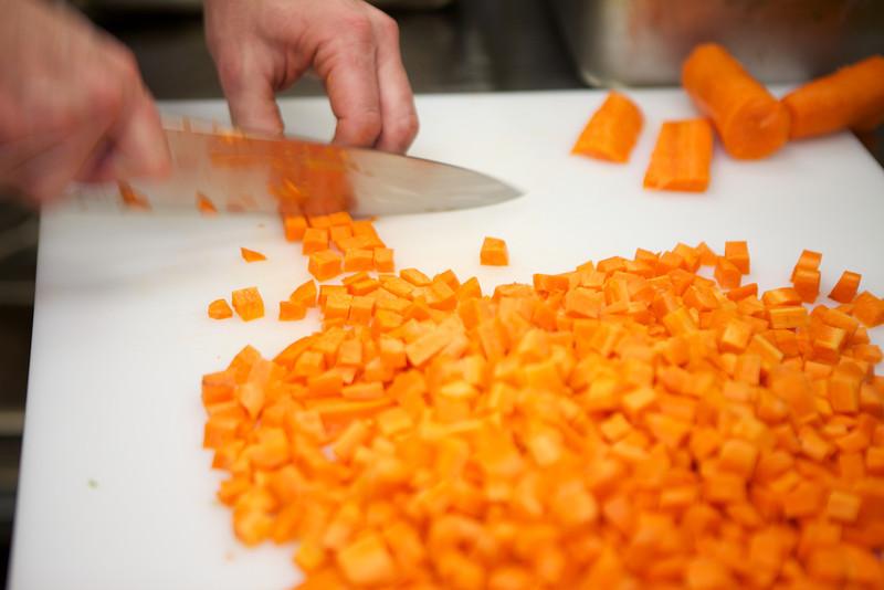 Chef Peter prepping carrots for his famous chicken soup<br /> <br /> IMG_4450