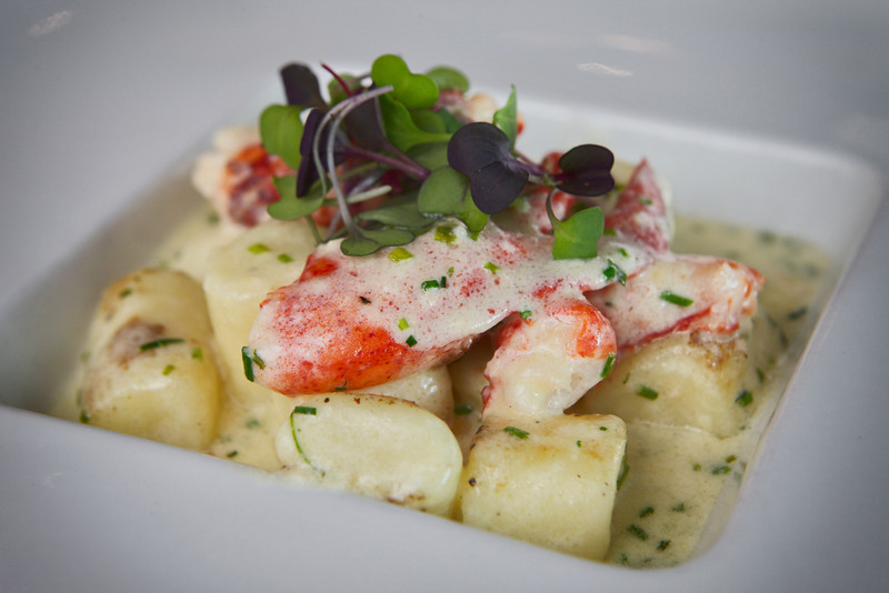 """Appetizer:  Lobster Mac & Cheese   ricotta gnocchi, Maine lobster, chives, aged cheddar cheese <br /> <br /> Posana Café's Lobster Mac & Cheese, conceived during the """"Got To Be N.C."""" Competition Dining Series' Fire on the Rock.<br /> <br /> IMG_4362"""