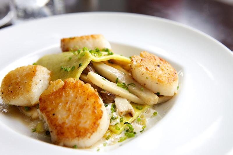 Open face lasagna, seared scallops, wild mushrooms<br /> <br /> Posana Cafe Gluten Free Dishes 17