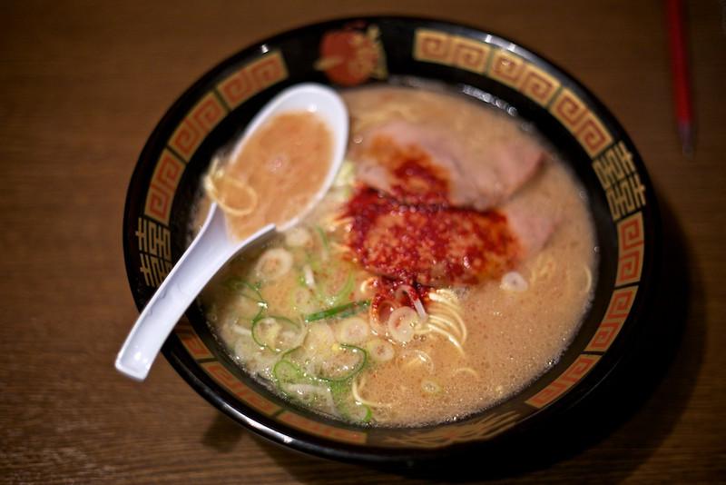 Ichiran Ramen. Ordered with garlic, extra spicy, al dente noodles.
