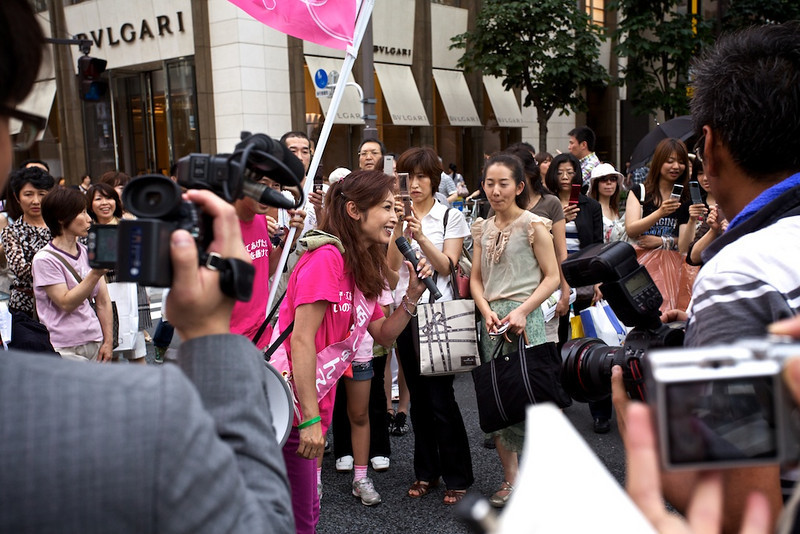 Celebrity politicians stumping in Ginza.