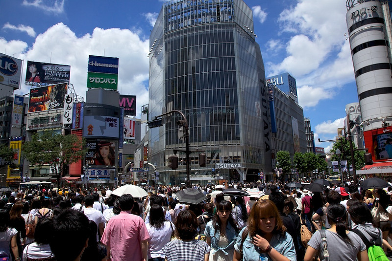 This is the famous intersection in Shibuya usually seen from above to the point of cliche.