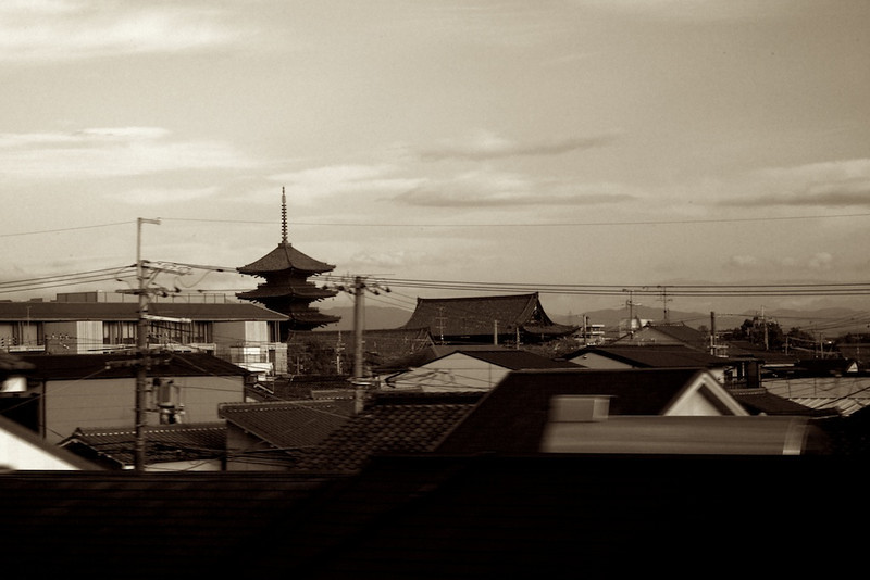 Kyoto rooftops from the train.