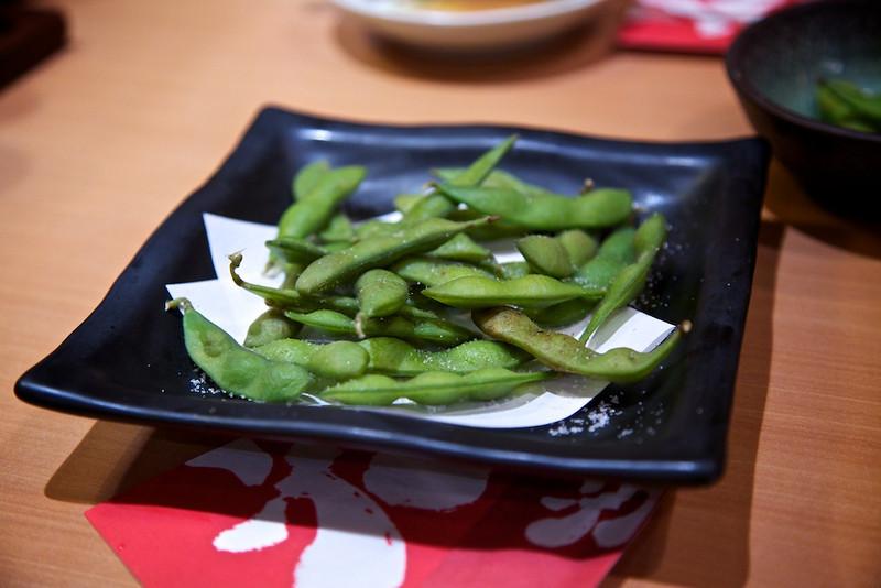 Soy beans at Tengu.