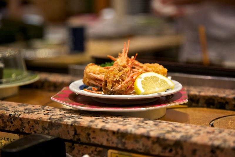 Shrimp on a conveyor belt