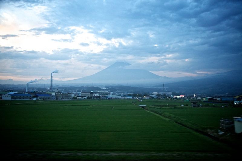 Mount Fuji at 186 mph from the Nozomi Shinkansen - it still looms, towers and impresses.