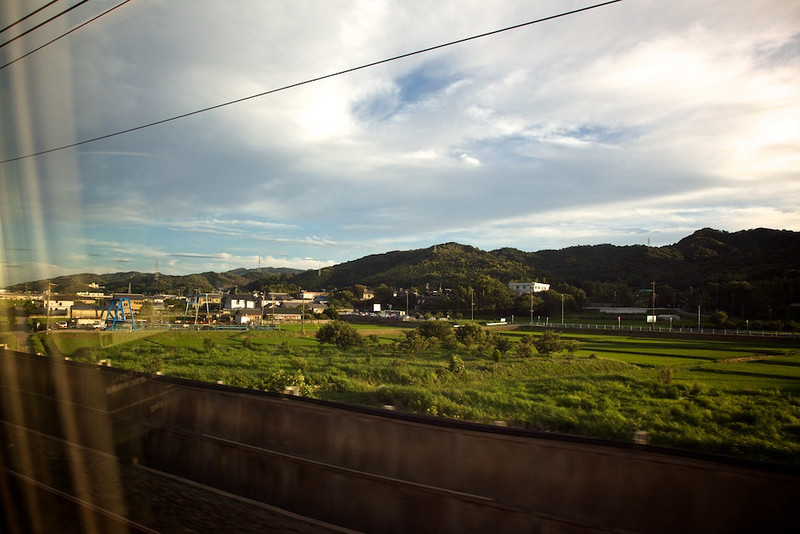 Just passing through - if for nothing more than the colors in this snapshot from the Shinkansen.