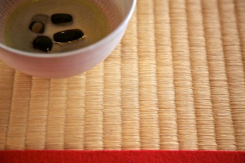 Iced Macha at the teahouse on Nakashima in Hamarikyu Garden.