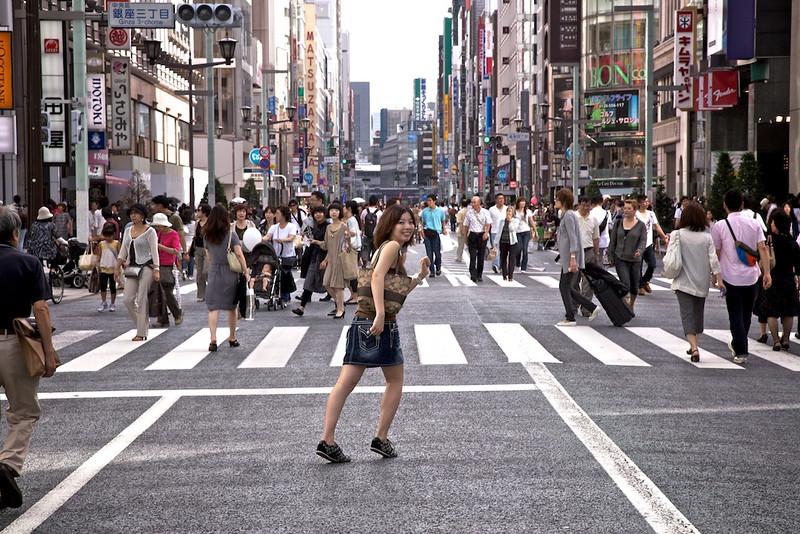 Miyoko running to the next store in Ginza. :-)