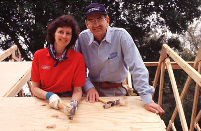 Habitat for Humanity founders, Millard and Linda Fuller, on-site in Americus, Georgia. (1996)