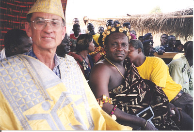 "1998 Millard and Chief of Ashanti tribe celebrate 1000th house Habitat built in Ghana at Baanuase HFH which had built 54 houses in what they named ""Habitat Estates."" lf"