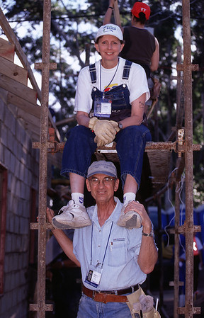 2002 - Millard and Linda Fuller on the build site. (Jimmy Carter Work Project South Africa)