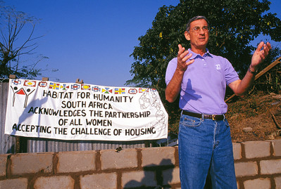 2001 - Millard Fuller speaks to volunteers at the Women Build in Bhekulwandle, South Africa.