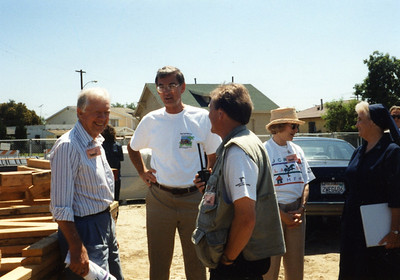 1995 Jimmy Carter Work Project - Watts area of Los Angeles, CA; building 21 houses in 5 days, Hollywood stars participate.