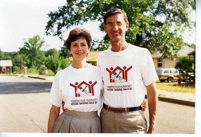 1988 - Linda and Millard showing House-Raising Walk shirts.