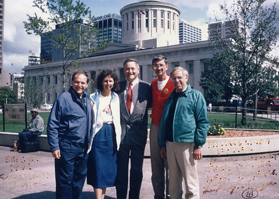 1991 - 15th Anniversary of HFHI celebrated in Columbus, OH  L-R: LeRoy Troyer, Linda Fuller, Dick Celeste (Governor of Ohio), Millard Fuller and Edgar Stoesz (chair of HFHI board).
