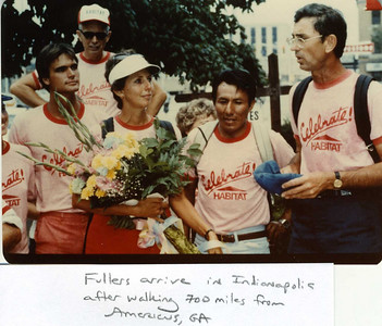 1983 - Fullers along with 8 others who walked the entire 700 miles arrive in Indianapolis. Standing between Fullers is Zenon Colque Rojas from Peru. Standing next to Linda are Dan Roman and Sally (met and fell in love on Walk and later married.) Cecil Miller, cook for walkers, standing in rear.