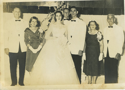 L-R: Linda's parents, Paul and Wilma Caldwell, Linda, Rev. Maxwell, Millard, Eunice and Render (not shown)