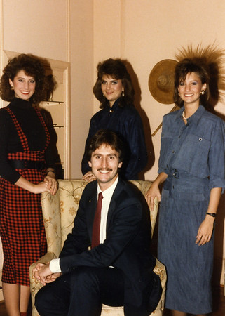 1986 Chris (center) surrounded by sisters, L-R: Georgia, Kim and Faithy