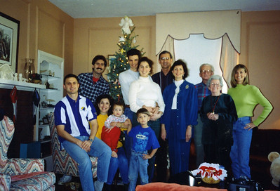 1996 Fuller Christmas at home - Klaus Sparn from German on left; Linda's mother Wilma and friend Paul Kiseth (both from Tuscaloosa, AL). Small children are Ben and Joshua Fuller, sons of Chris and Dianne.